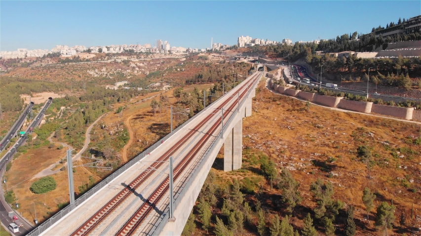 Jerusalem entrance railway bridge and traffic aerial Flight view over rusalem entrance railway bridge and traffic   | Shutterstock HD Video #1033402232