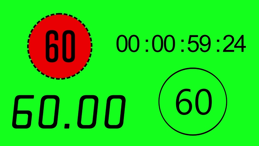 4 different time keeper on green screen background. Count down 60 to 0 second. Electronic timer with alpha channel. | Shutterstock HD Video #1033413782