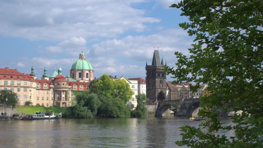 The splendor of the architecture of the Charles bridge over the Vltava. Prague, Czech Republic. | Shutterstock HD Video #1033563362