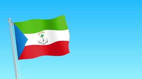 Rise of Equatorial Guinea flag . Equatorial Guinea flag