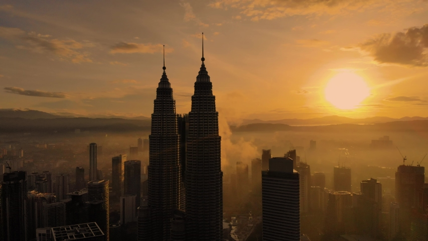 Kuala Lumpur,  panorama of the city center, shooting from air  | Shutterstock HD Video #1033575812