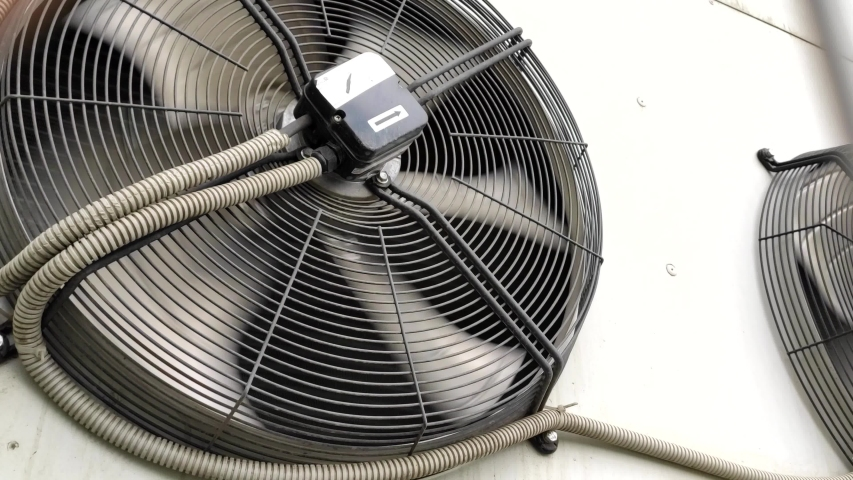 4k00:10industrial air conditioner. large industrial fans in a modern ...
