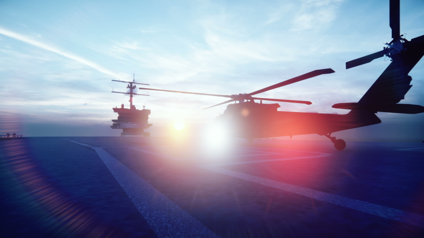 Military helicopter takes off from an aircraft carrier in the morning in the endless blue ocean   Shutterstock HD Video #1033700312
