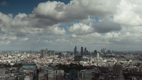 A beautiful panning HD timelapse of clouds rolling over the City of London (financial district/Square Mile). A static (non-panning) version is also available.