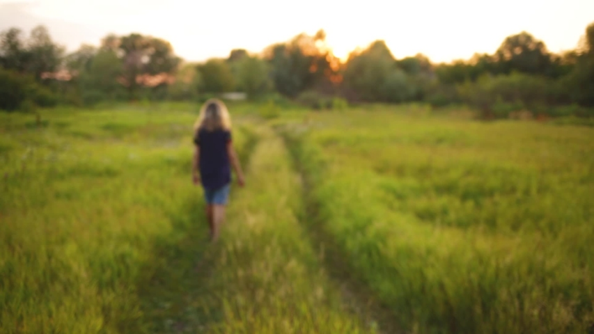 Back view of female silhouette walking away from camera. Woman enjoying lonelyness and freedom in scenic sunset rural landscape having walk in countryside meadow. Real time full hd video footage. | Shutterstock HD Video #1033969802