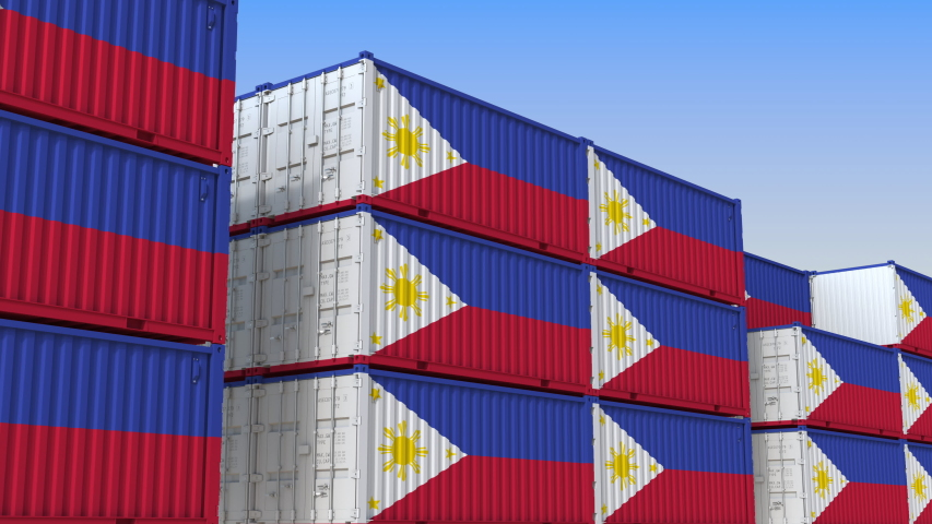 Container yard full of containers with flag of Philippines. Export or import related loopable 3D animation   Shutterstock HD Video #1034009492