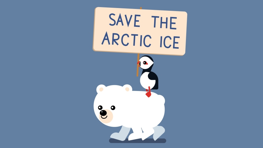 100 baby animals. Walk cycle of a baby polar white bear protesting with bird puffin and a sign. Save The Arctic Ice. 2D animation made in 4K, loopable clip   | Shutterstock HD Video #1034023472