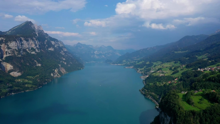 Lake Walensee in the Swiss Alps - aerial views in Switzerland | Shutterstock HD Video #1034126462