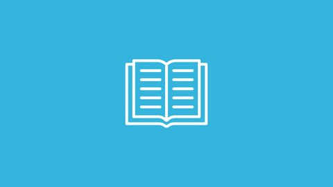 Book Line Icon Animation with Alpha stock video