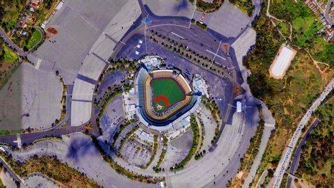 California USA: Earth Zoom from Los Angeles Dodgers Stadium - Dodger Stadium