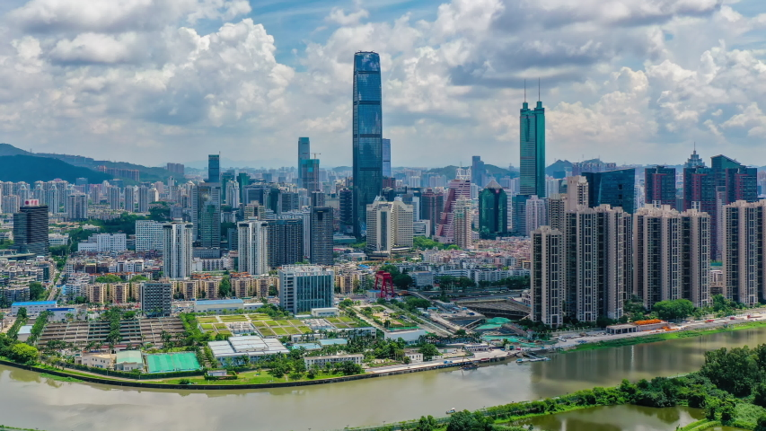 4k aerial hyperlapse video of Shenzhen CBD | Shutterstock HD Video #1034523032