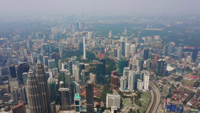 Kuala lumpur city downtown sunny day aerial topdown panorama 4k malaysia | Shutterstock HD Video #1034563682