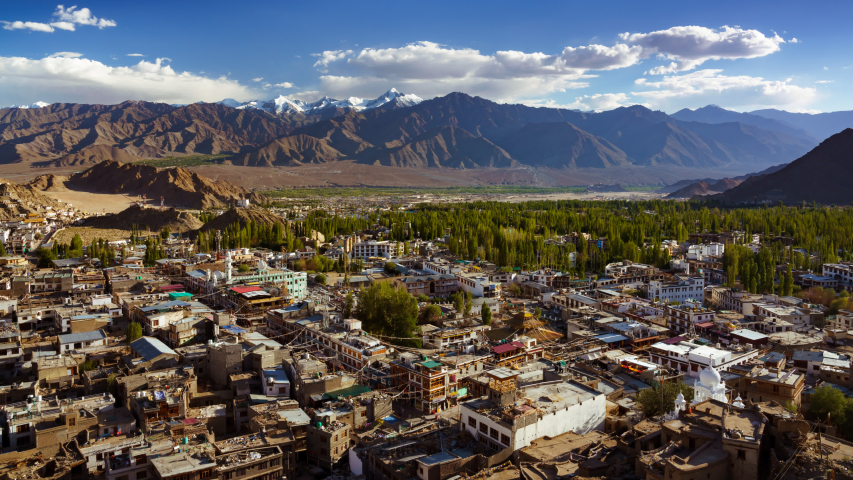 4K Time lapse of Leh city view from Tsemo Maitreya Temple, Ladakh, India | Shutterstock HD Video #1034578112