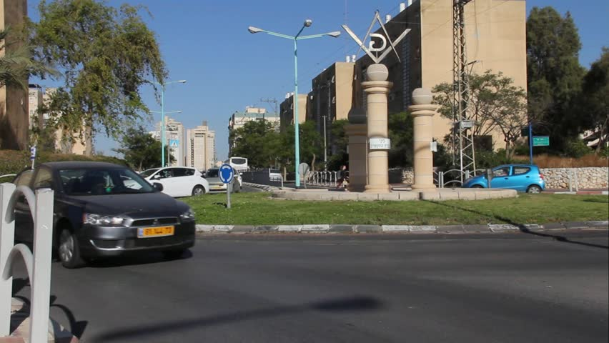 BEER SHEVA, ISRAEL - MAY 7: Masonic Square and surrounding streets in the capital of the Negev on May 7, 2015 in Beer Sheva, Israel.  Beer Sheva is the largest city in Negev desert of southern country
