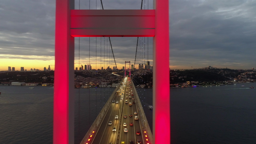 Aerial view of sunset on Istanbul Bosphorus Bridge (15 July Martyrs Bridge). 4K Footage in Turkey