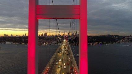 Aerial view of sunset on Istanbul Bosphorus Bridge (15 July Martyrs Bridge). 4K Footage in Turkey