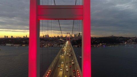 Aerial view of sunset on Istanbul Bosphorus Bridge