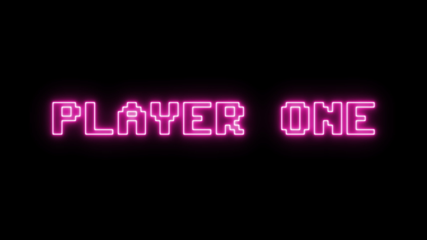 A series of messages from a fictional 1980s videogame: player one (two), get ready, go! Vaporwave pink neon style.