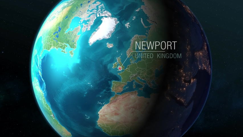 United Kingdom - Newport - Zooming from space to earth | Shutterstock HD Video #1034783492