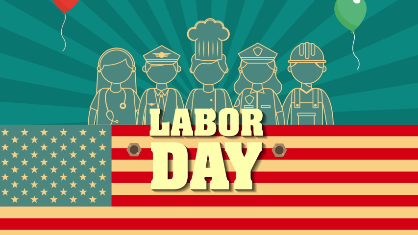 Labor day with USA flag and workers group ,4k video animation | Shutterstock HD Video #1034812112