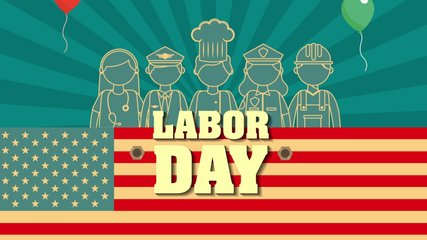 labor day with USA flag and workers group ,4k video animation
