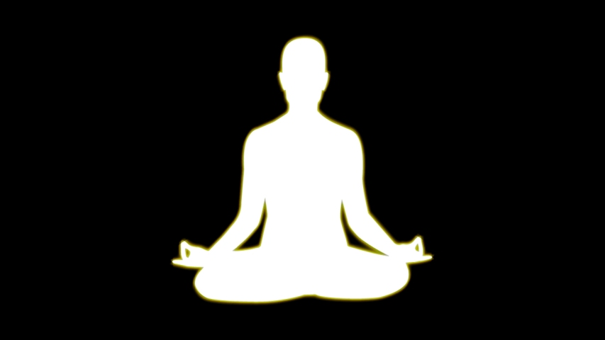 White silhouette of a meditating person, glowing with gold glimmer in seamless loop | Shutterstock HD Video #1034820422