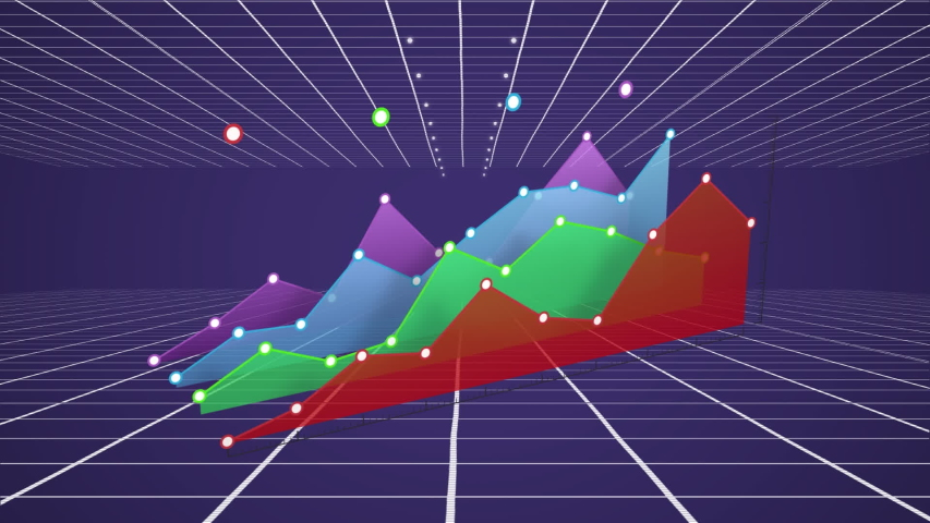 Animation of colourful 3d graph in red, green, blue and purple building over a purple background with a grid top and bottom mowing towards the horizon | Shutterstock HD Video #1034867222