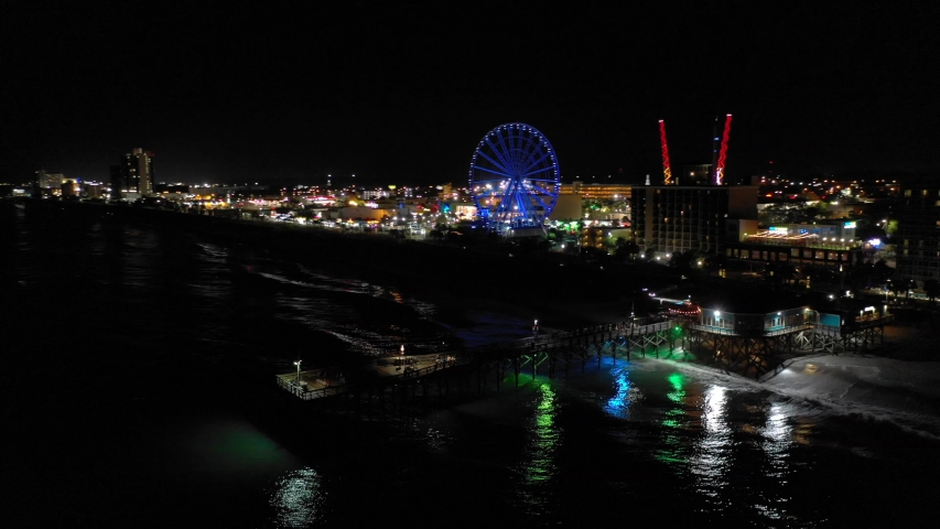 Night aerial Myrtle Beach Pier South Carolina