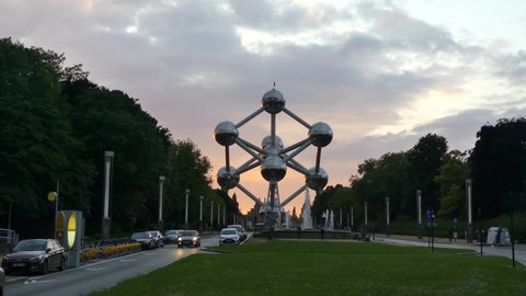 Brussels, Belgium - May 2019: View of The Atomium is a landmark building in Brussels.