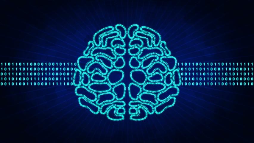 Binary digital brain.Artificial Intelligence Concept | Shutterstock HD Video #1034951282