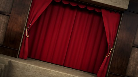 3D animation of a theater, show, opera, stage, scene red velvet curtain opening with alpha layer