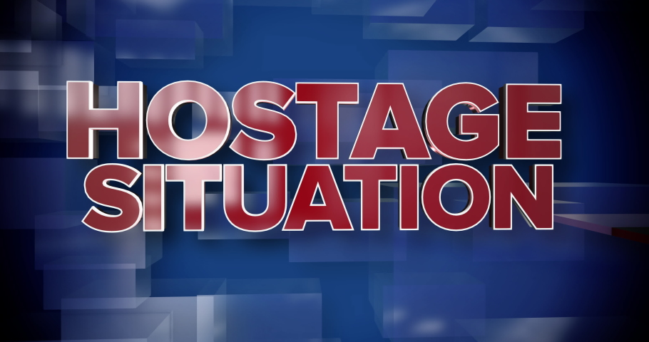 A red and blue dynamic 3D Hostage Situation news title page background animation.	 	 | Shutterstock HD Video #1035210602