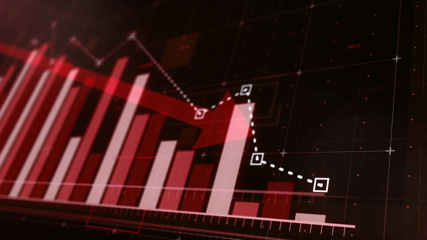 Beautiful 3D animation of a red bar graph fall down following the arrow, ultra HD 4K | Shutterstock HD Video #1035217472