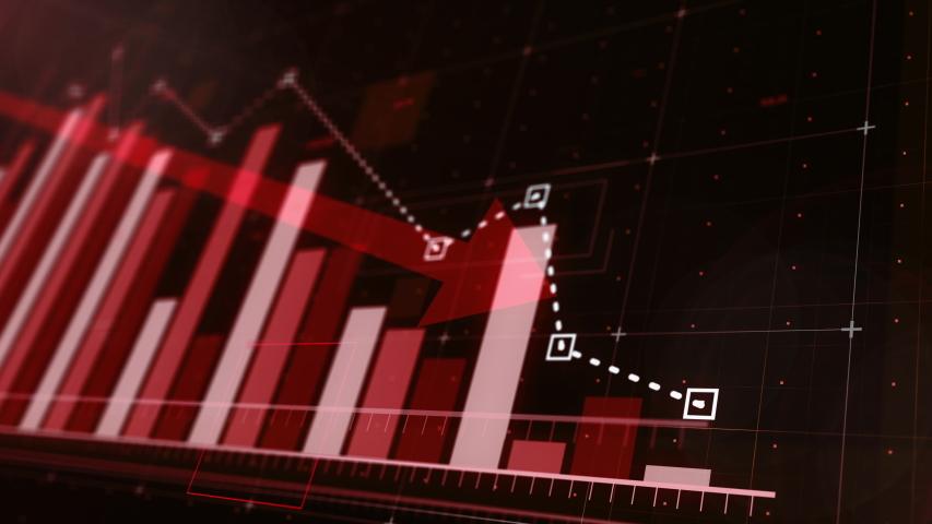 Beautiful 3D animation of a red bar graph fall down following the arrow, ultra HD 4K | Shutterstock HD Video #1035217472