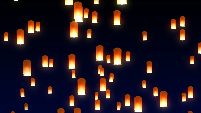 Many flying sky lanterns rising up in the night sky during festival. 3-D Seamless looping animation.   Shutterstock HD Video #1035424652