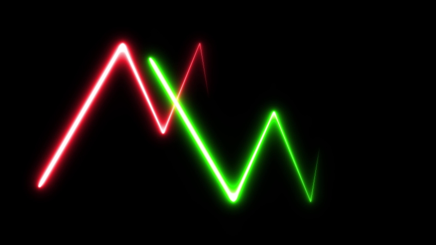 Electric discharge animation. Green red animation - drawing forms. Animation fluorescent ultraviolet light glowing neon lines. Video contains: Lines, Star, Waves, Spiral, Rectangle. Seamless loop.    Shutterstock HD Video #1035502112