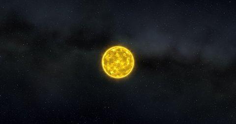 Solar system, passage through the planets, Mercury, Venus, Earth, Mars, Uranus, Neptune, Pluto, Saturn, Sun, planets of the solar system, space, 3D render, solar system, stars, galaxy