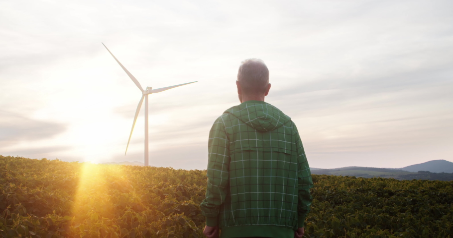 Agriculture engineer in harvest field enjoying sunset in rural landscape with modern technology windmills. Wind turbines power generators for cheap eco-friendly electricity.   Shutterstock HD Video #1035557642