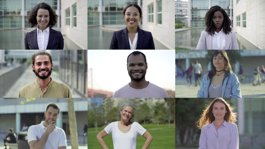 Happy smiling employees looking at camera. Multiscreen montage, split screen collage. Ethnicity variation concept