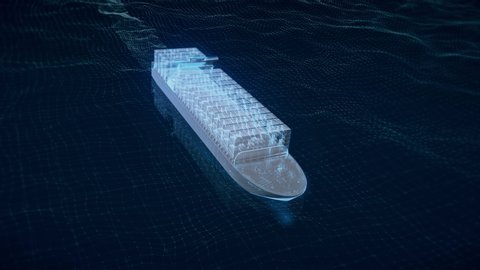 3D animation of a large container ship at sea, with graphs and charts about the shipment.
