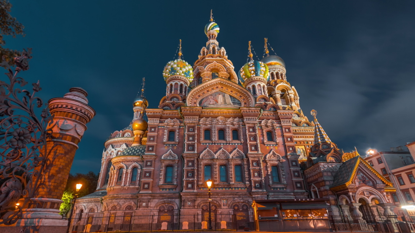 Night time-lapse (hyperlapse) of Church of the Savior on Blood in Saint-Petersburg