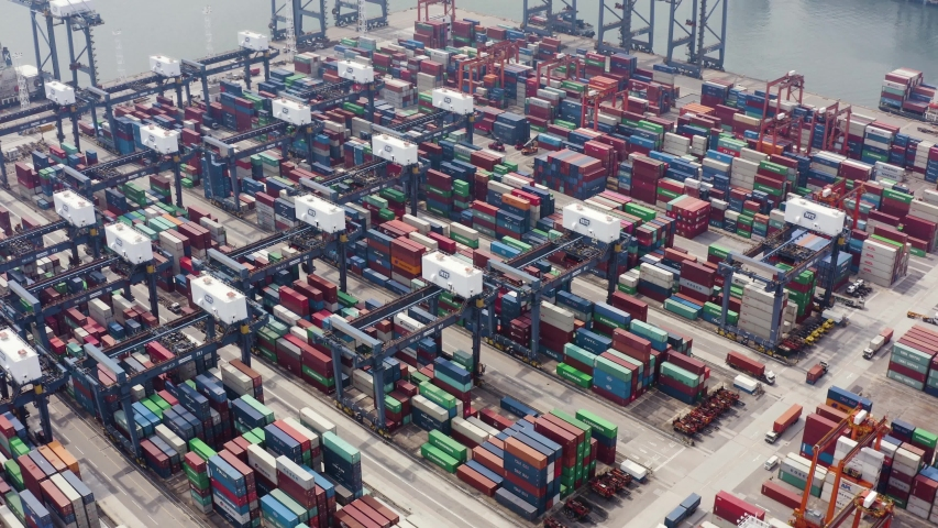 Hong Kong, August 29, 2019: Aerial view of logistics and transportation of container cargo ship and business logistics | Shutterstock HD Video #1036042262