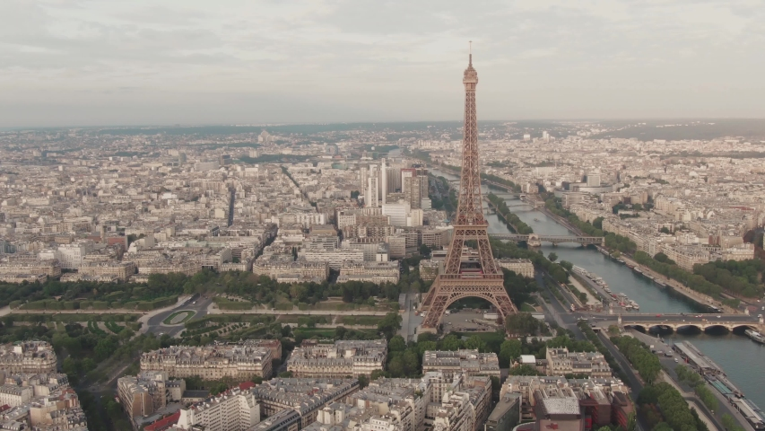 Aerial drone shot of the famous Eiffel Tower in Paris, France | Shutterstock HD Video #1036271252