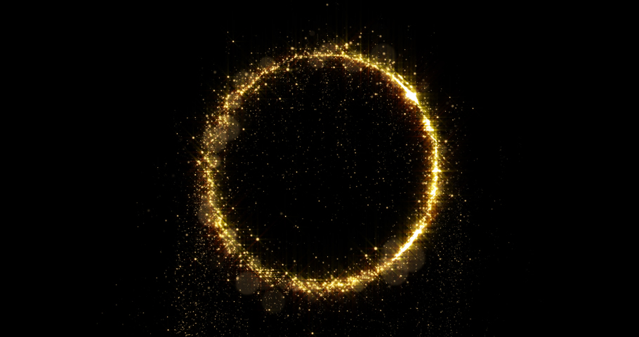 Golden glitter circle with sparkling light shine. Gold glittering ring, magic shimmer glow, bright light sparks with bokeh effect | Shutterstock HD Video #1036353692