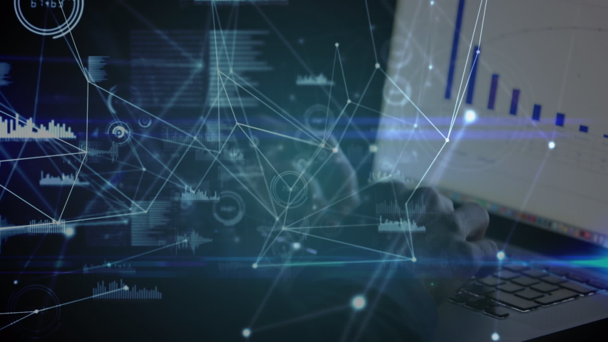 Animation of network of data and connections with a person using a laptop in the background | Shutterstock HD Video #1036423142