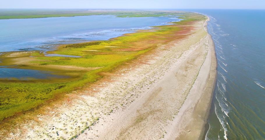 Aerial view of Sacalin peninsula in Danube delta, Romania | Shutterstock HD Video #1036442162