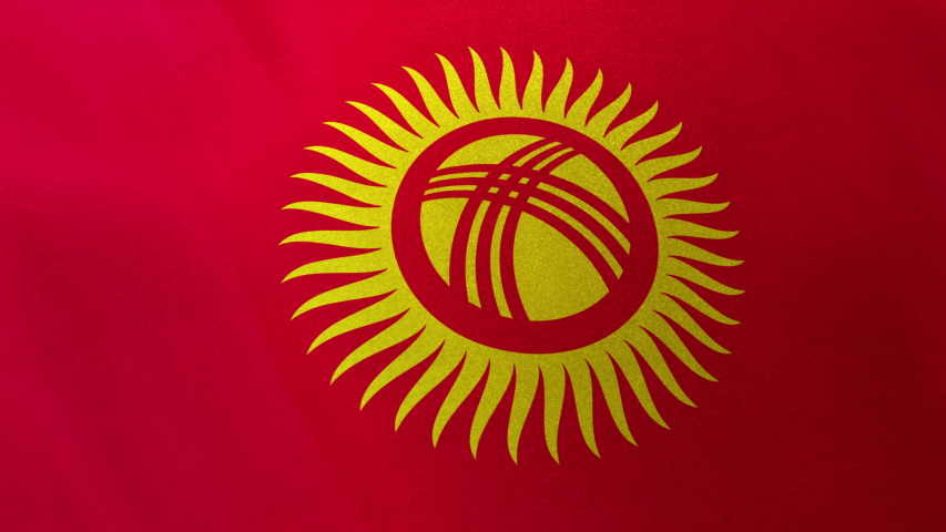 Kyrgyzstan national flag seamlessly waving on realistic satin texture 29.97FPS | Shutterstock HD Video #1036482902