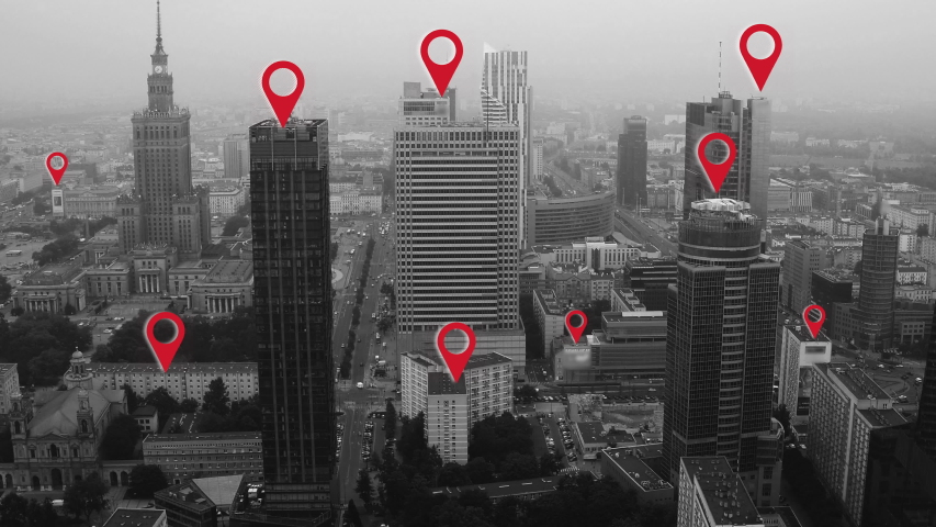 Aerial shot of Warsaw city center with localization icons. | Shutterstock HD Video #1036566632