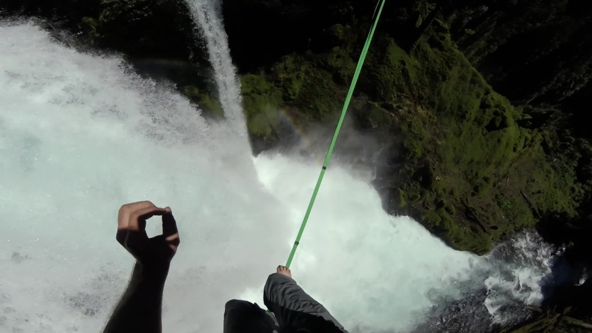 Belknap Springs , Oregon / United States - 06 30 2017: Sahalie Falls Waterfall kayaking and highlining #1036673552