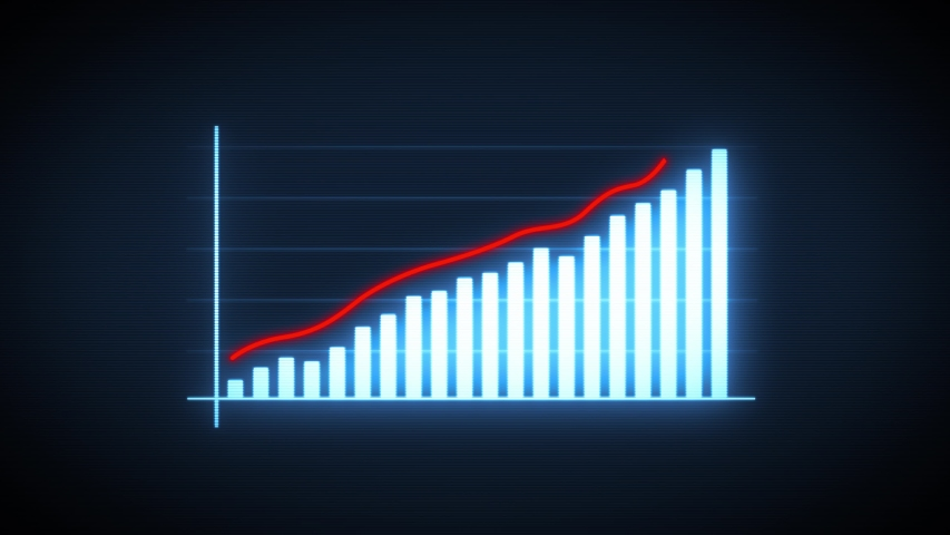 Business Growth And Success Arrow Infographics/ 4k animation of a business infographics with rising arrow and bar stats appearing, symbolizing growth and success, with glitch and noise digital effects | Shutterstock HD Video #1036743422